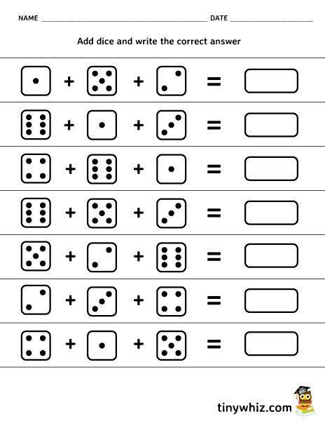 Free Printable Worksheet Adding 3 Dice Free Printable Worksheets Free Printable Math Worksheets Math Worksheets