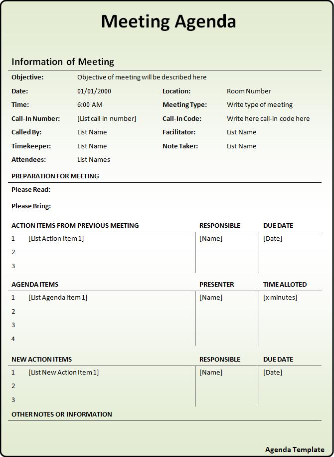 agenda request form