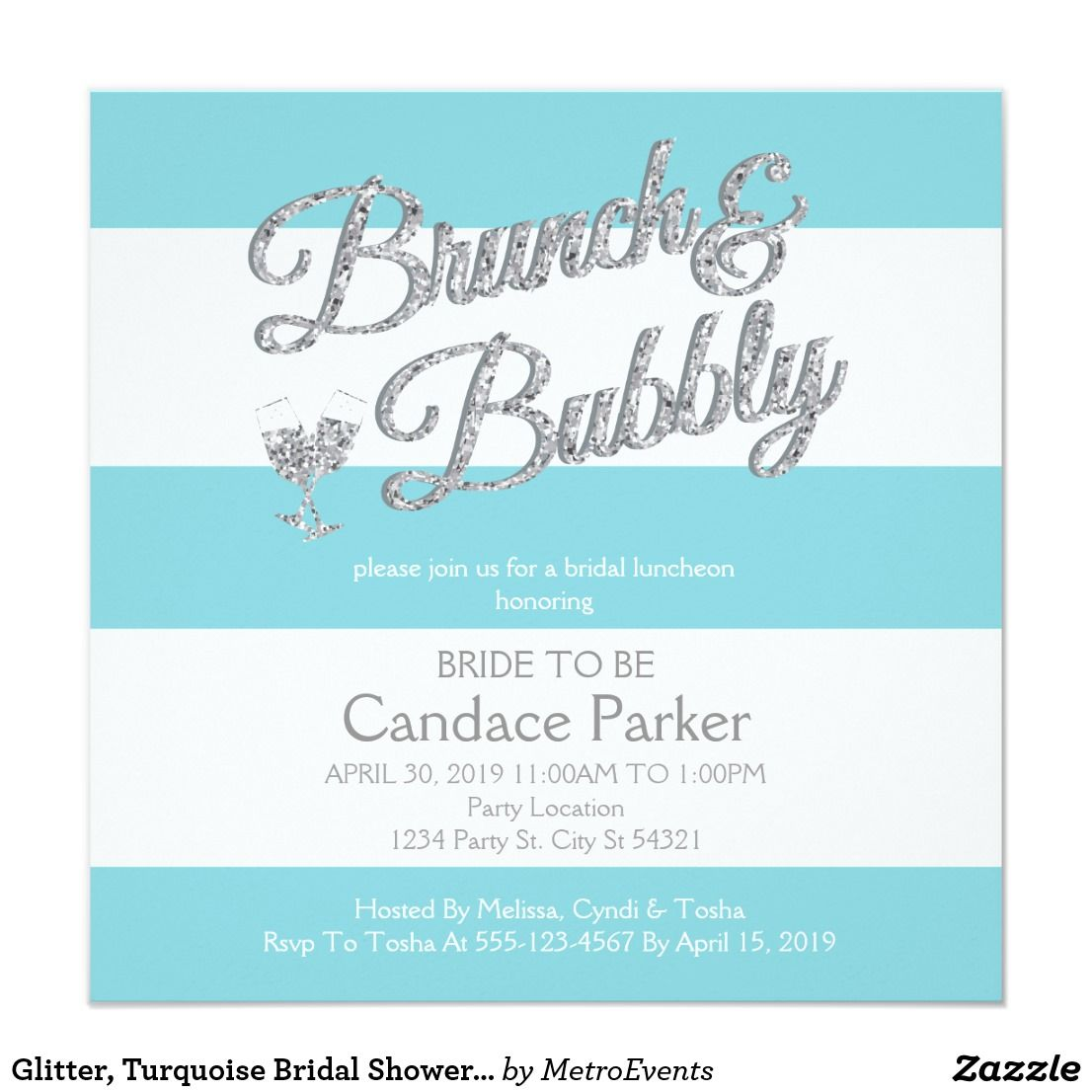 Glitter turquoise bridal shower invitations turquoise bridal glitter turquoise bridal shower invitations filmwisefo