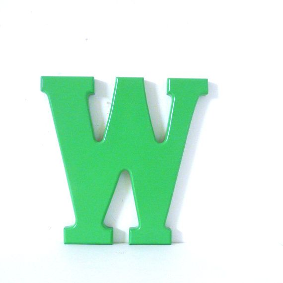 letter W, mint green home decor, letters, typography, wooden letter, colorful