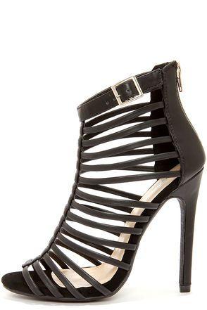 Paprika Julio Black Caged High Heel Sandals   Heels, High