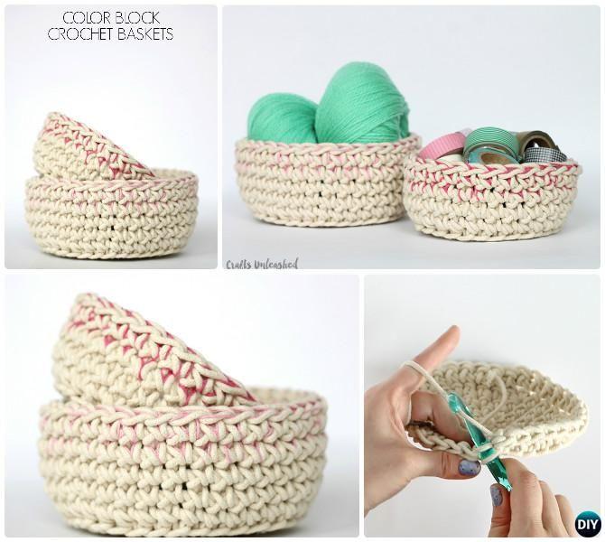 DIY Crochet Color Block Storage Basket Free Pattern   Bag patterns ...