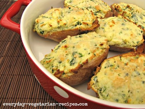 Tasty twice baked potato recipe these vegetarian stuffed potatoes tasty twice baked potato recipe these vegetarian stuffed potatoes have a light and creamy filling of spinach and ricotta with a crisp parmesan crust forumfinder Choice Image