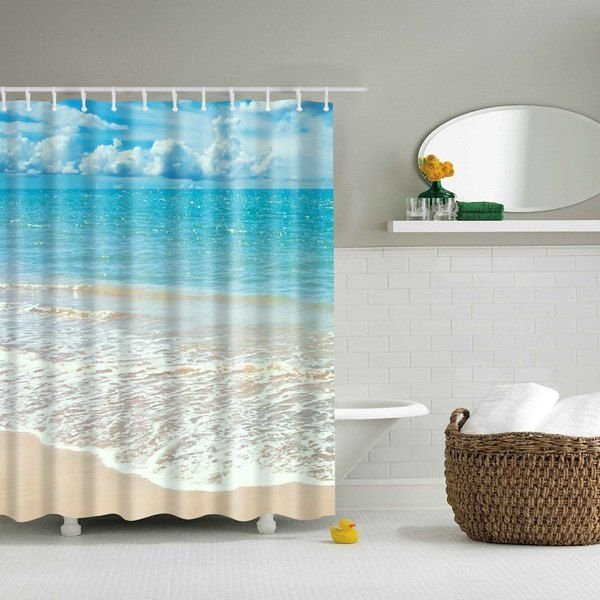 Beach Pattern Bathroom Waterproof Shower Curtain Beach Shower