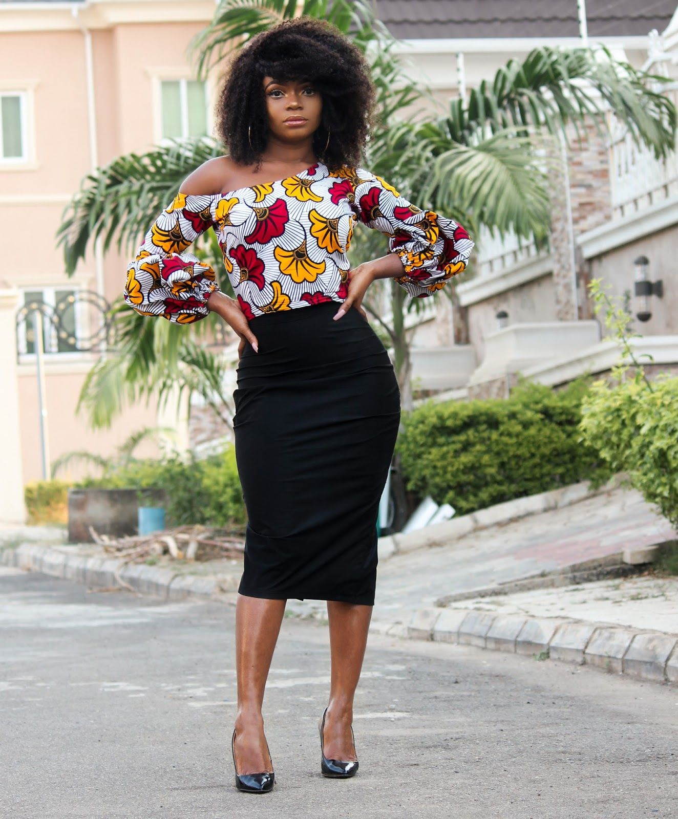 ANKARA TOP BLACK MIDI SKIRT | Ankara tops, African fashion modern, Black  midi skirt