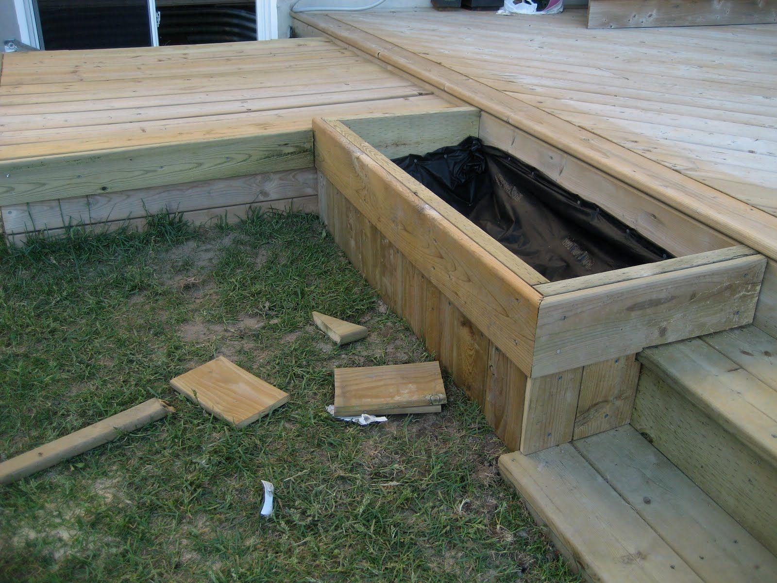 Diy Planter In Decked Steps Outdoor Planter Box Plans Outdoor Planter Boxes Patio Planter Boxes