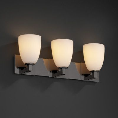 Justice Design Group Modular Fusion 3 Light Vanity Shade Color Droplet Finish