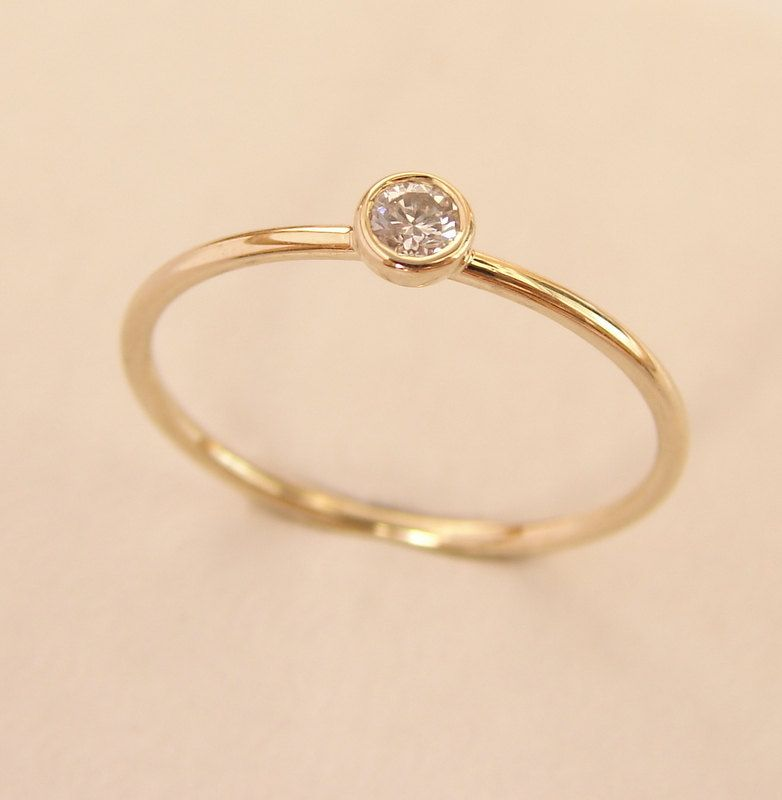 Diamond Gold Ring Simple Engagement Ring Gold Engagement   My Kind ...