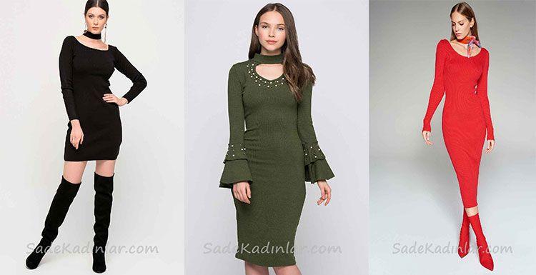 Kislik Elbise Kombinleri Ve Son Moda 2019 Triko Elbiseler Elbise Modelleri The Dress Kazak Elbise
