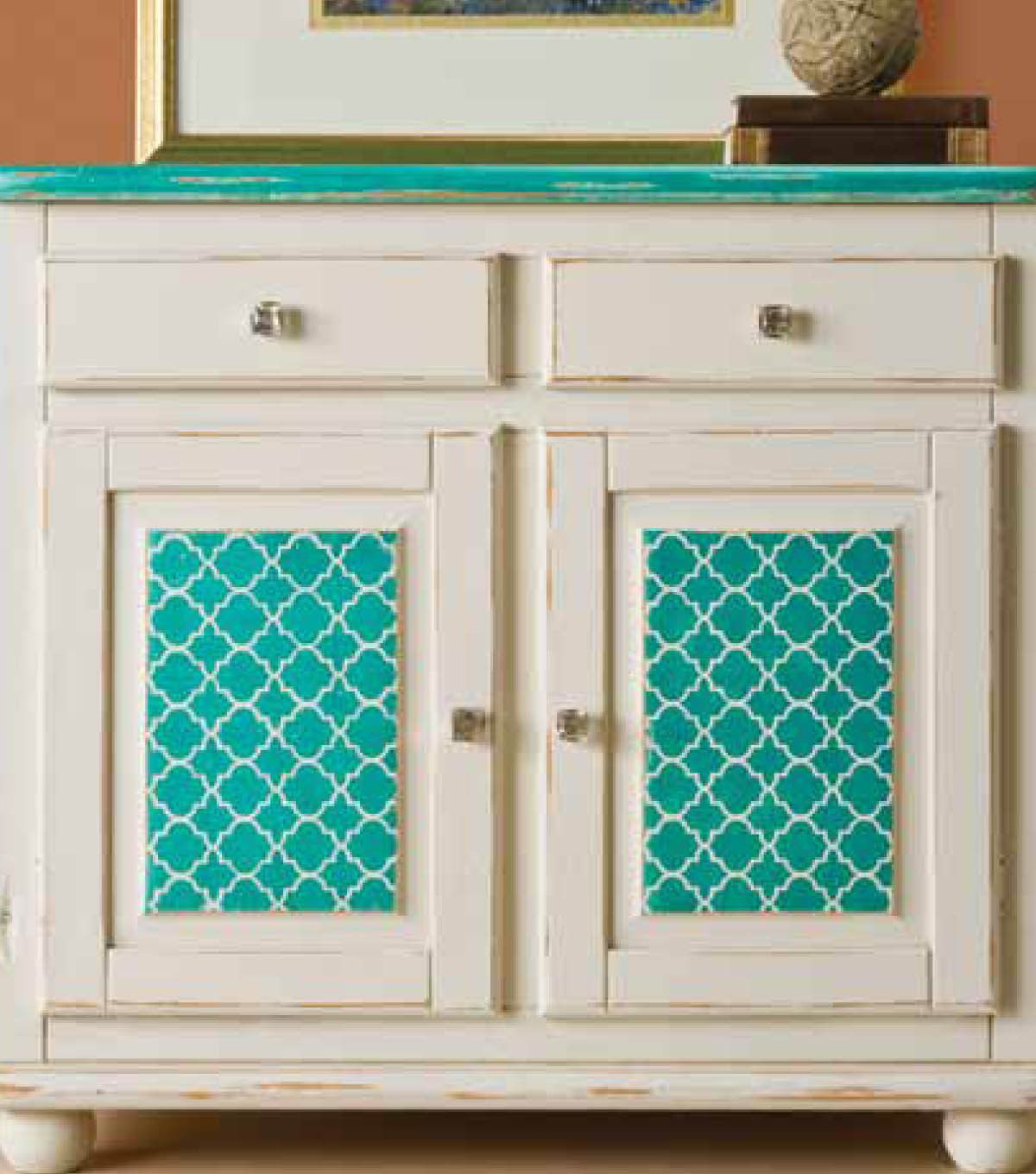 #upcycle an old dresser with paint and stencils from @Plaid Crafts