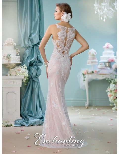 The Enchanting by Mon Cheri 116144 wedding dress brandishes a sexy sheath silhouette in allover lace. Beaded lace appliques start richly on the notched sweetheart bodice, and scatter over the slim skirt. The spaghetti straps disappear into the sheer lace back, creating a dramatic exit together with the sweep train. Available sizes: 0 to 20.