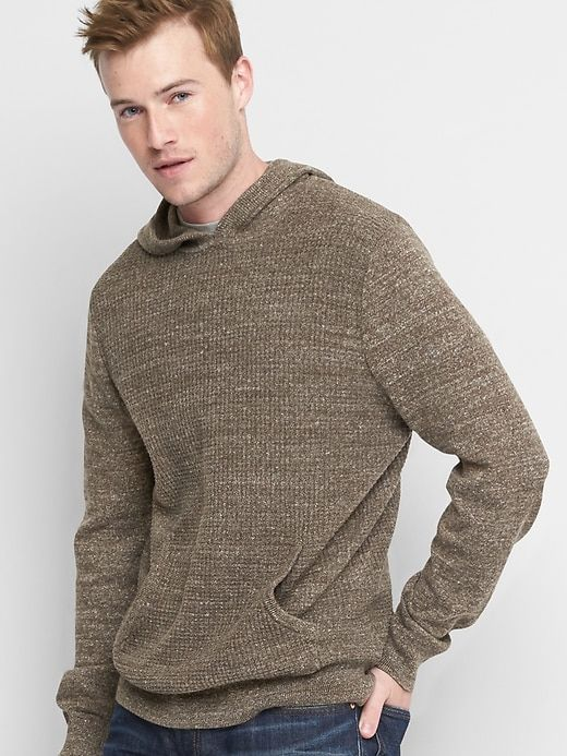 Gap Mens Waffle Knit Pullover Hoodie Midbrown Products Pinterest