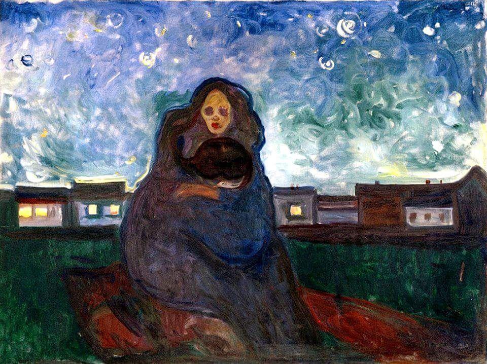 """Edvard Munch (Løten, 12 de diciembre de 1863-Skøyen, 23 de enero de 1944) fue un pintor y grabador noruego de la corriente Expresionista. Under the Stars """" ca. 1900-05 Óleo."""