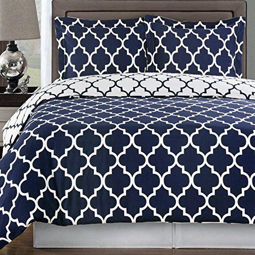 Duvet Cover Set Double Full Queen Navy Blue White 100 Egyptian Cotton Print Geometric Pattern Luxury Modern Reversible Bedding And Shams Slaapkamer Blauw Wit