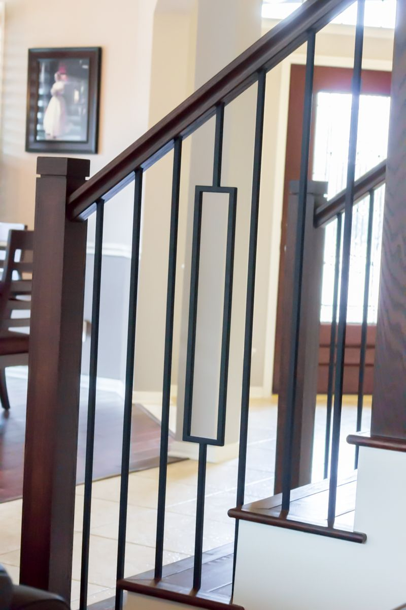 This staircase uses high quality wrought iron balusters to create a unique craftsman style design featured are the single rectangular balusters 16 6 3