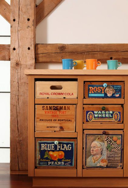 Even A Set Of Kitchen Drawers Makes Use Of Old Materials Carver And His Team Used Old Produce Boxes To Create A Custom Vintage Crates Crates Old Wooden Crates