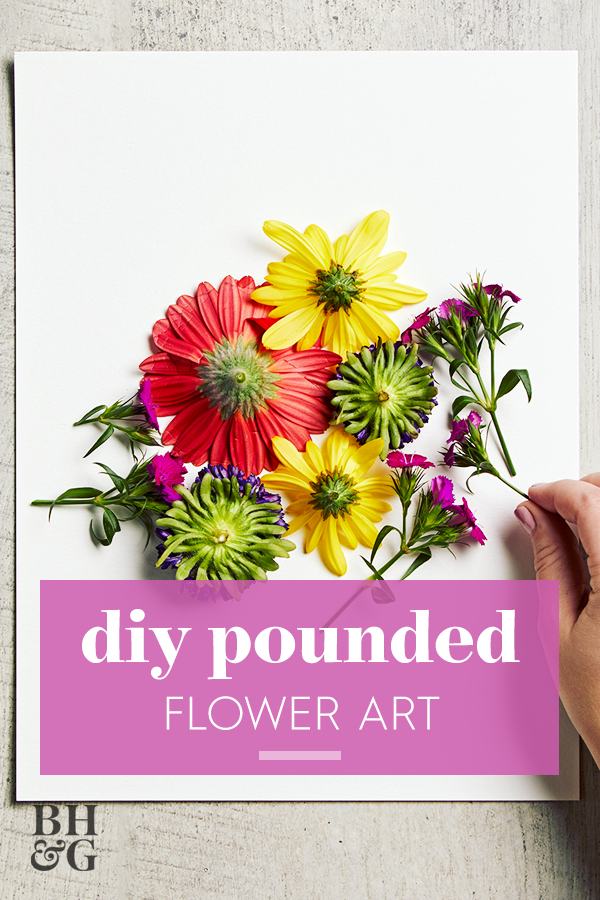 This easy pounded flower art technique makes it so easy to transfer bright flower blooms onto watercolor paper. We love this technique to create custom art decor. Learn how to make this easy pounded flower art. #poundedflowerart #mothersday #flowercrafts #diy #craftideas #bhg