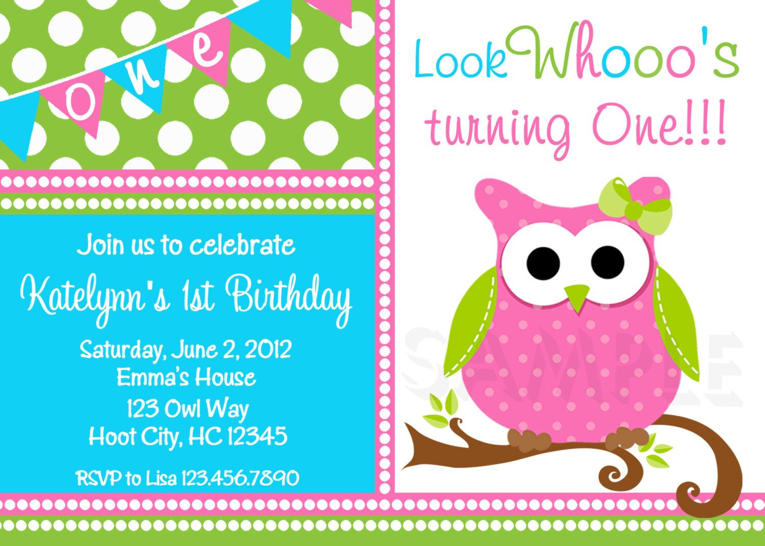 Owl Birthday Invitation Pink And Green