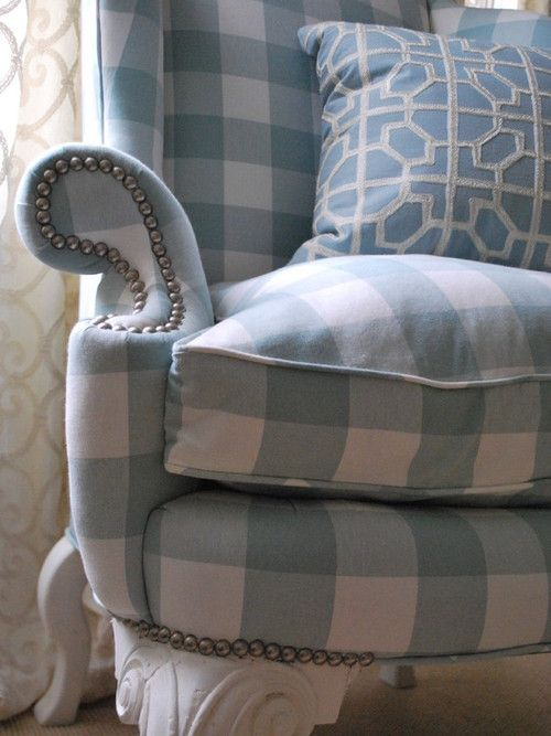 Soft Blue And White Buffalo Check Wing Chair Checks