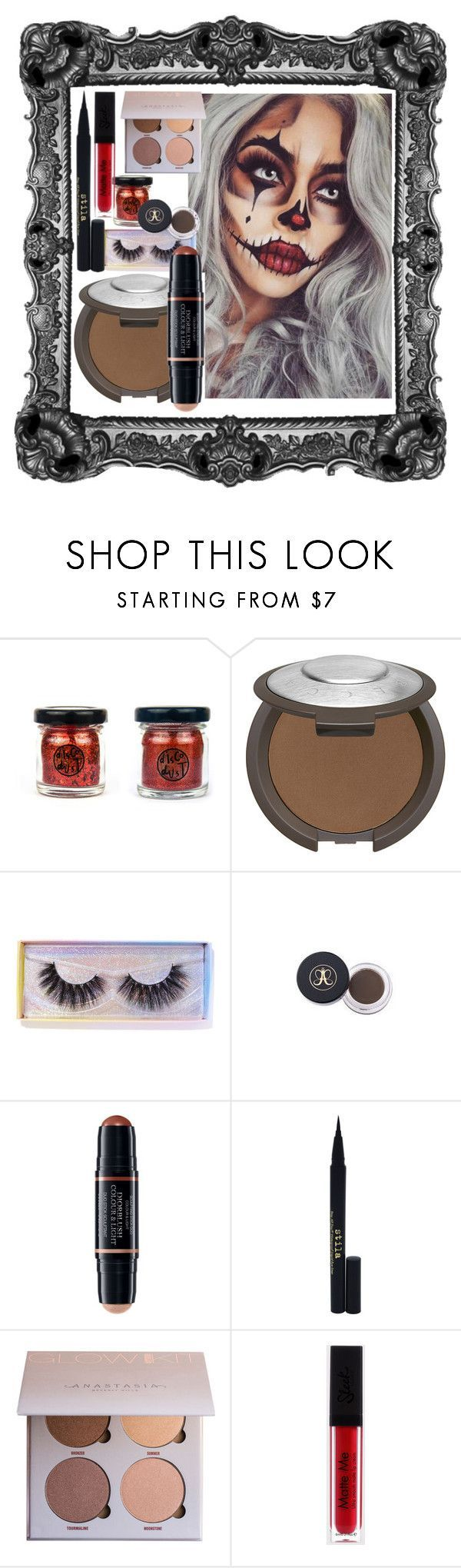 Scarecrow makeup #scarecrowmakeup Scarecrow makeup by hannahwibb ❤ liked on Polyvore featuring beauty, Disco Dust London, Becca, Featherella, Christian Dior and Stila #scarecrowmakeup