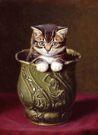 Horatio Henry Couldery 18321893 Kitten In Vase Cats In Paint