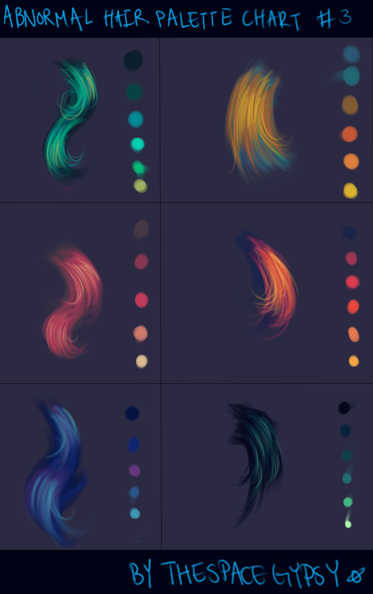 Hair Color Palettes by *TheSpaceGypsy on deviantART