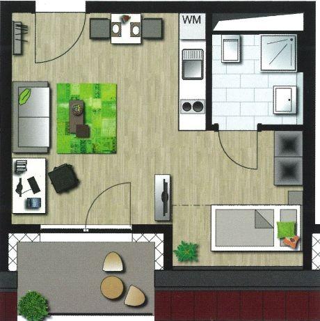 grundriss einer studentenwohnung aus dem my app n rnberg die wohnung wird ber ca 31 qm. Black Bedroom Furniture Sets. Home Design Ideas