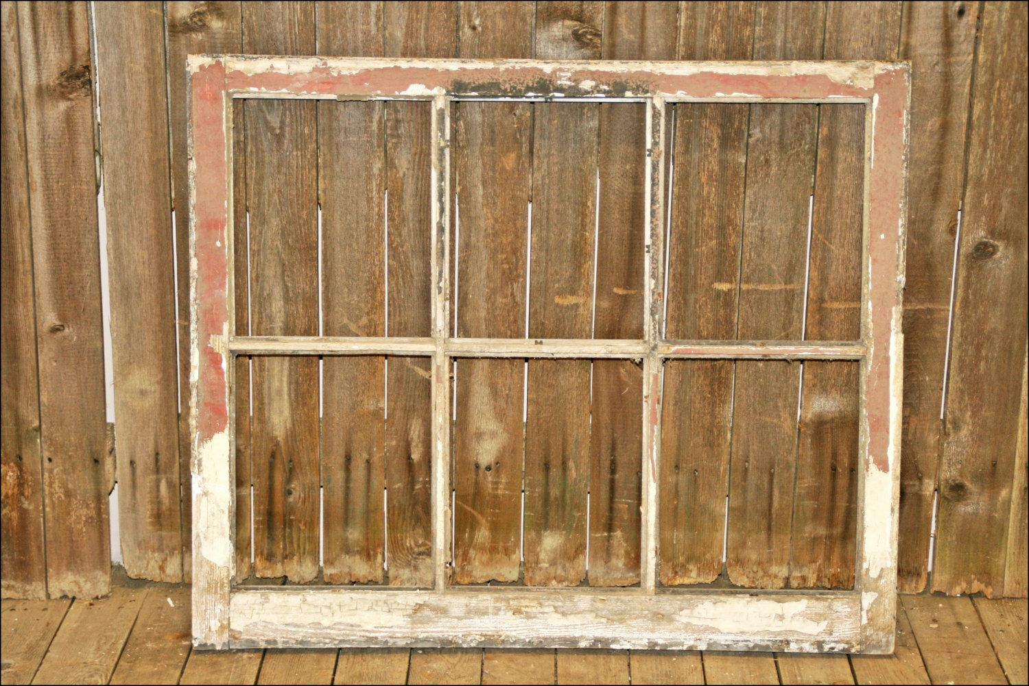 Vtg Wood Window sash 6 pane picture frame antique shabby salvage ...