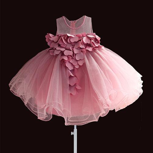 New Lace Baby Girls Dress Petal Flower Chiffon Party Princess Dress 1 Years Kids Girls Birthday Dresses Christmas Vestido 3m 4t Kids Gown Birthday Girl Dress Baby Girl Dresses