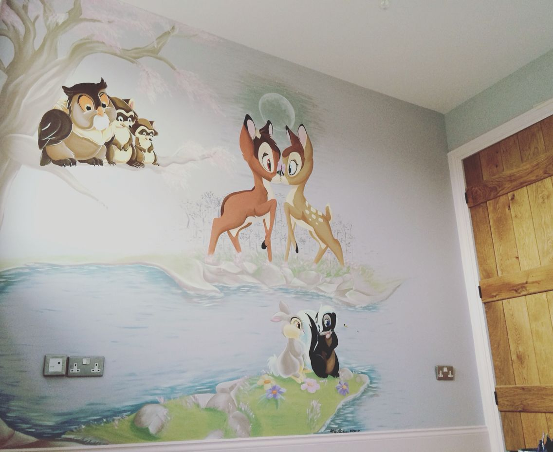 Wall mural vintage bambi painted by Adam Hargreaves ...