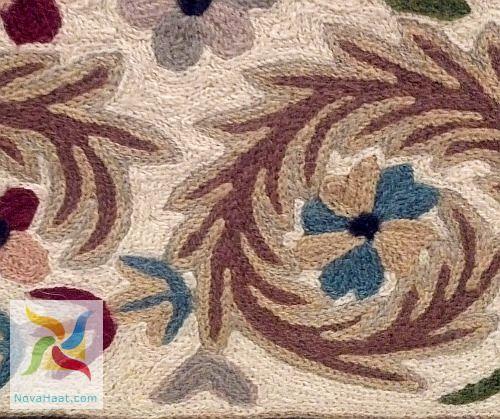 Amazing Crewel Aari Kashmir Embroidery Indian Decor And Ethnic Silk Rug