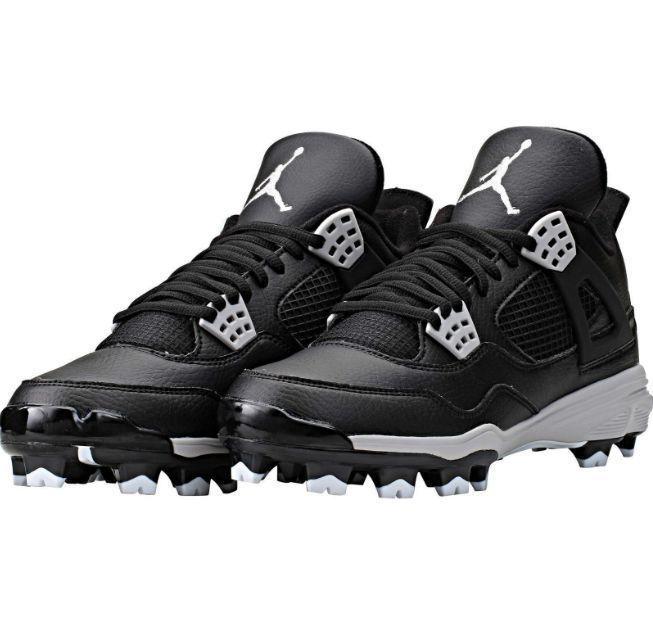 Nike Air Jordan Retro IV 4 MCS Molded Cleats Baseball Softball Size 7.5  Black