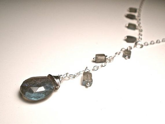 Labradorite Necklace Wire Wrapped in Sterling Silver