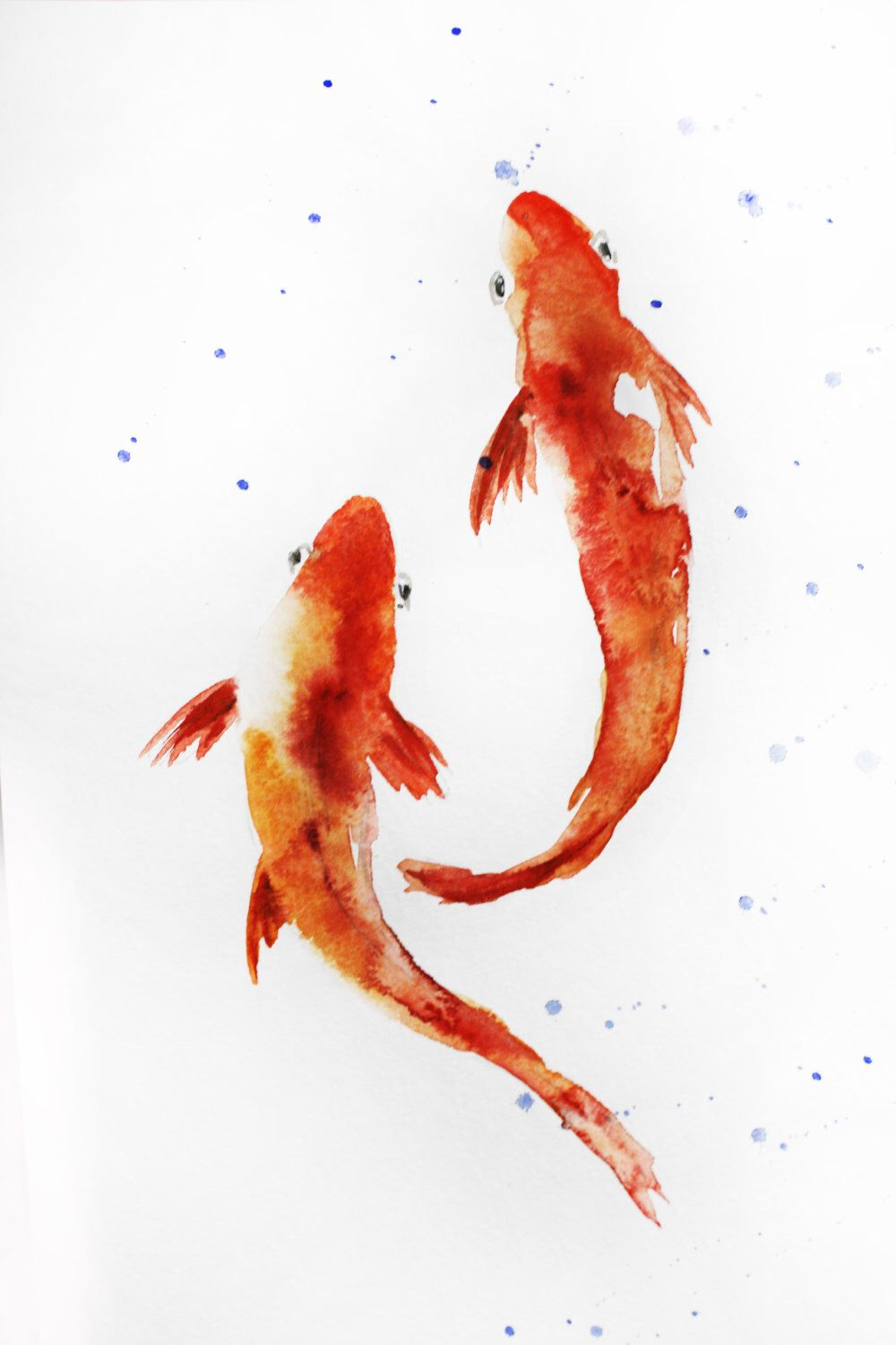 Original watercolor painting koi fish gold fish sea for Japanese fish painting