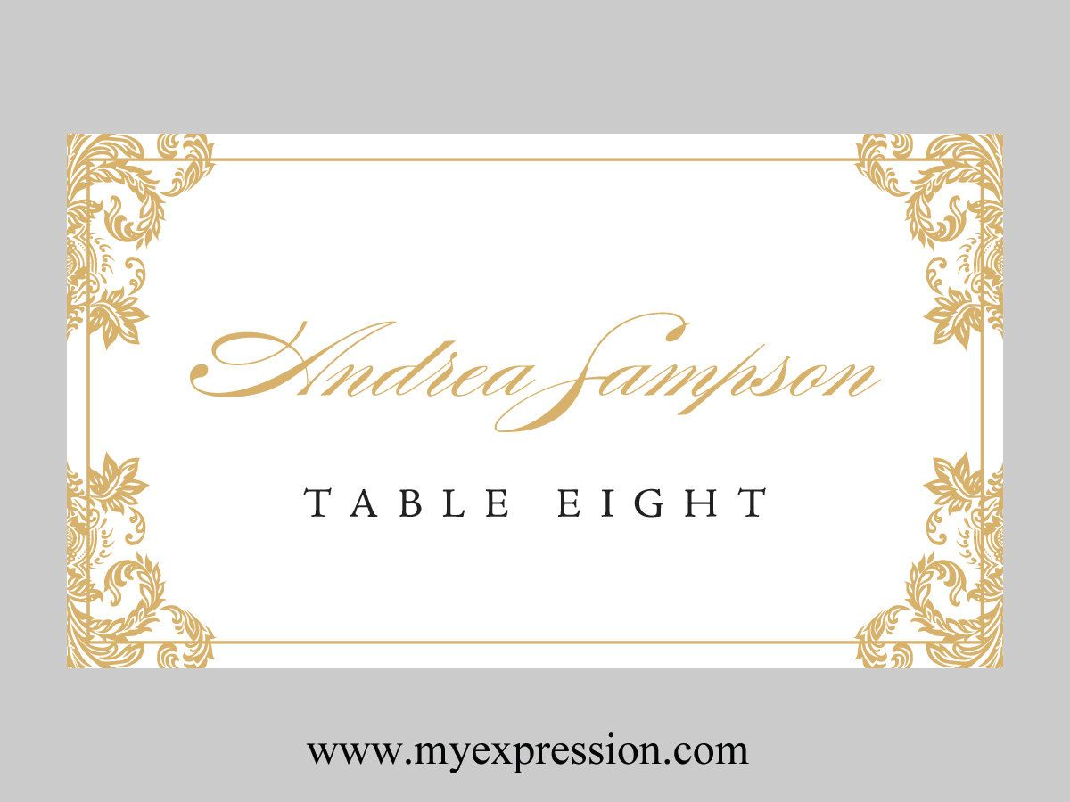 wedding place cards template gold damask by. Black Bedroom Furniture Sets. Home Design Ideas