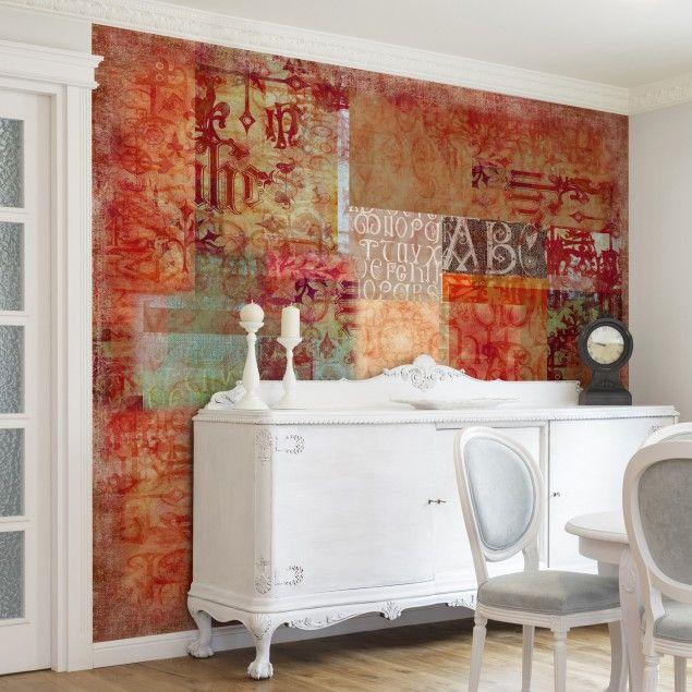 Vliestapete - Schriftmuster - #Fototapete Quadrat #orientalisch - tapeten wohnzimmer rot