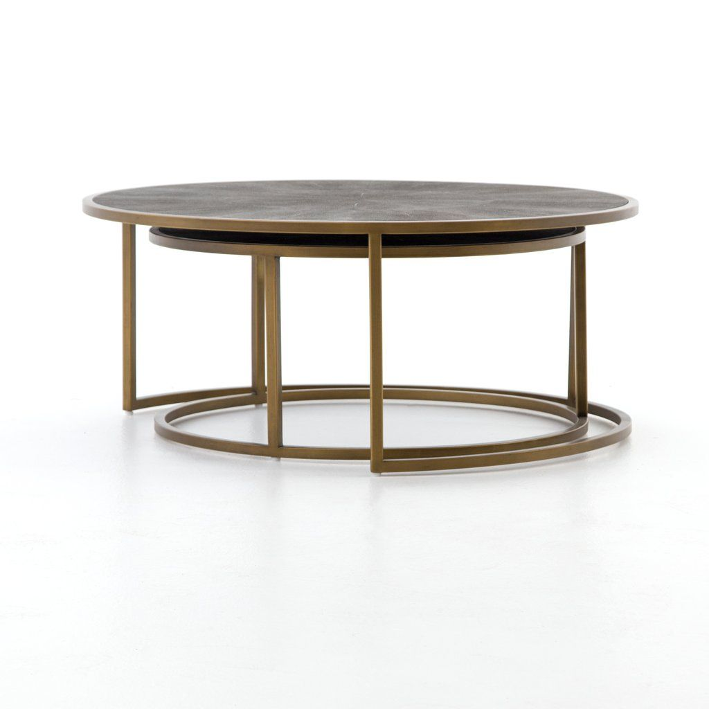 Shagreen Nesting Coffee Table in Antique Brass Nesting