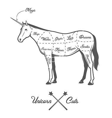 Funny Halloween Cuts Of Unicorn Diagram Vector By Ivanbaranov On