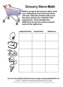 Grocery Store Math Worksheets Math Worksheets Math Math Night
