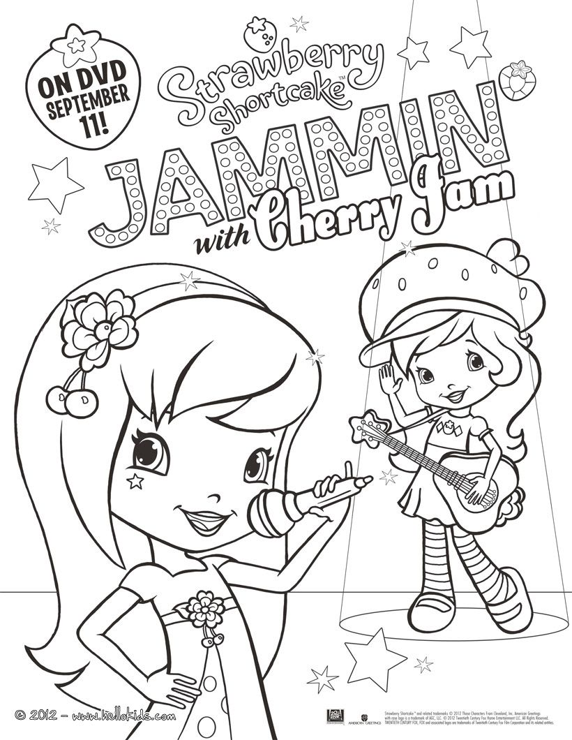 Jammin with Cherry Jam Strawberry Shortcake coloring page | Let\'s ...