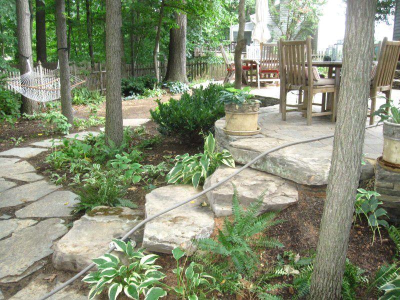 ideas for future patio area on unlevel side yard slope ... on Unlevel Backyard Ideas id=28743