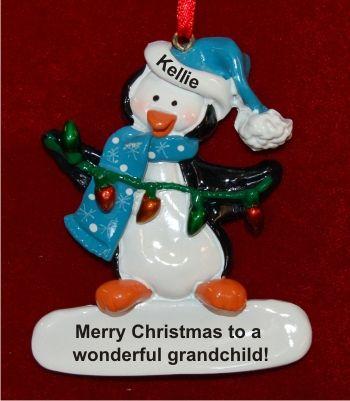 Christmas Penguin with Lights for Grandchild Christmas Ornament