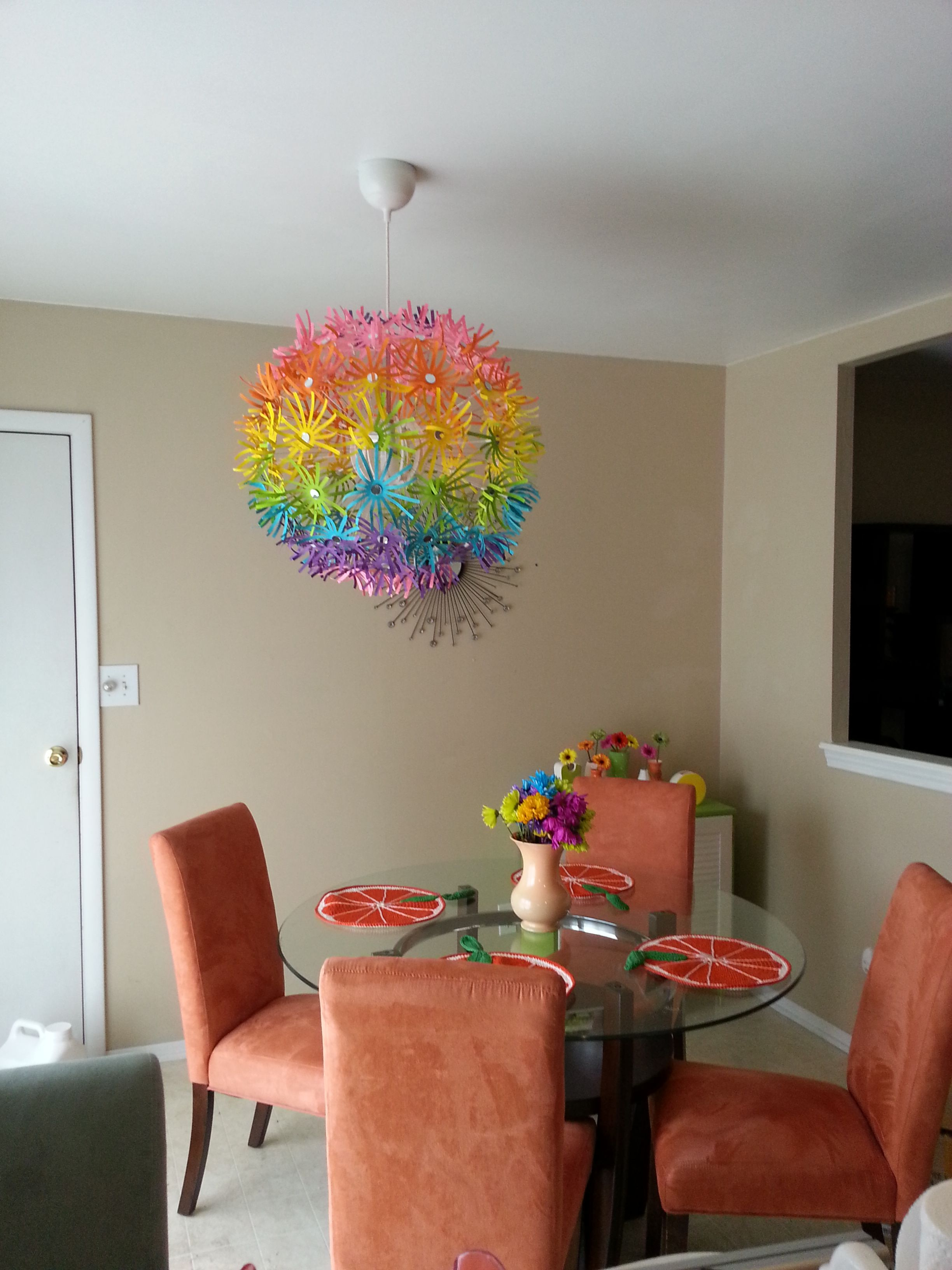 Chandelier is an ikea maskros custom painted with two coats of chandelier is an ikea maskros custom painted with two coats of ceramcoat acrylics and finished off with craft mirror centers mozeypictures Images