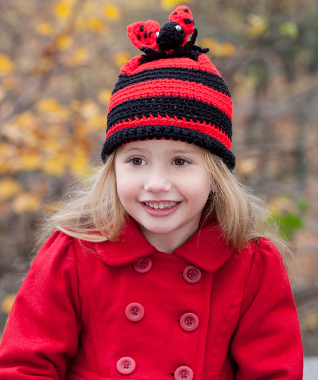 Lady Bug Hat free pattern on Red Heart at http://www.redheart.com ...