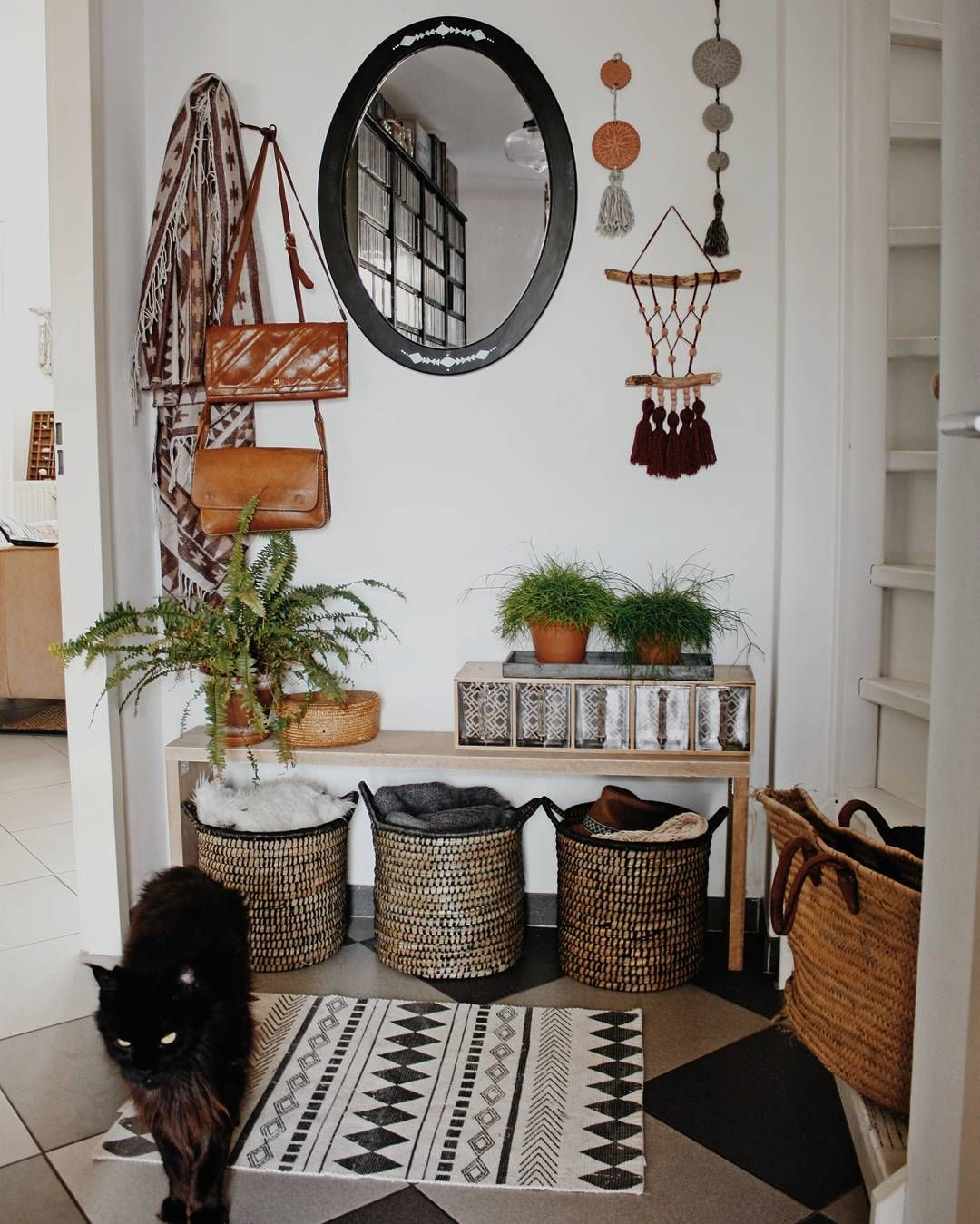 Bohemian Styled Entry Boho Spaces Baskets Wall Hangings Vintage Finds House Decor