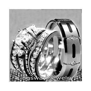 his hers 4 pcs womens sterling silver mens titanium wedding rings set bridal - Wedding Rings Sets His And Hers