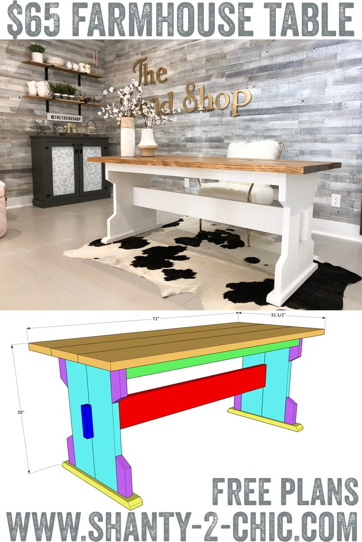 Build This Diy Farmhouse Dining Table For Only 65 Farmhouse Dining Table Farmhouse Style Dining Table Diy Furniture Projects