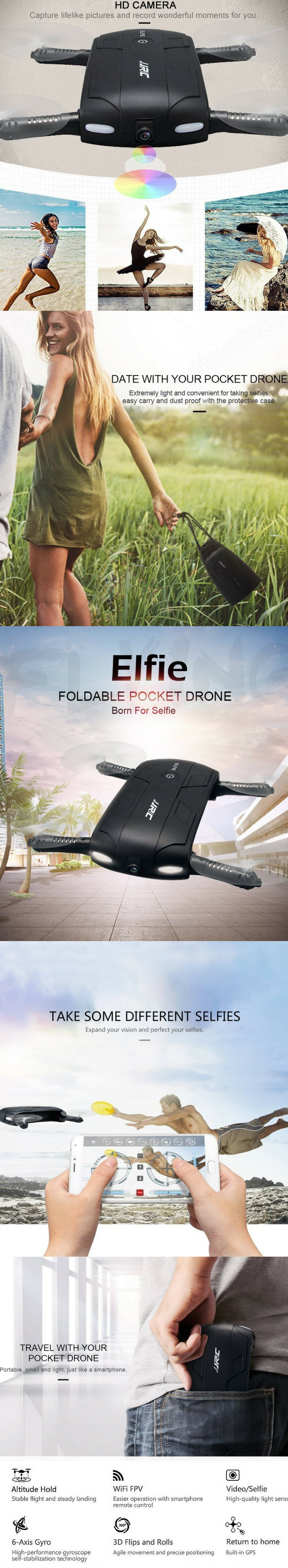 Elfie Selfie Drone Smartphone Wifi Remote Control Your Equipped With Precision Electronic Gyroscope To Stabilized Flying Connection Phone Will Receive Real Time Transmission From The