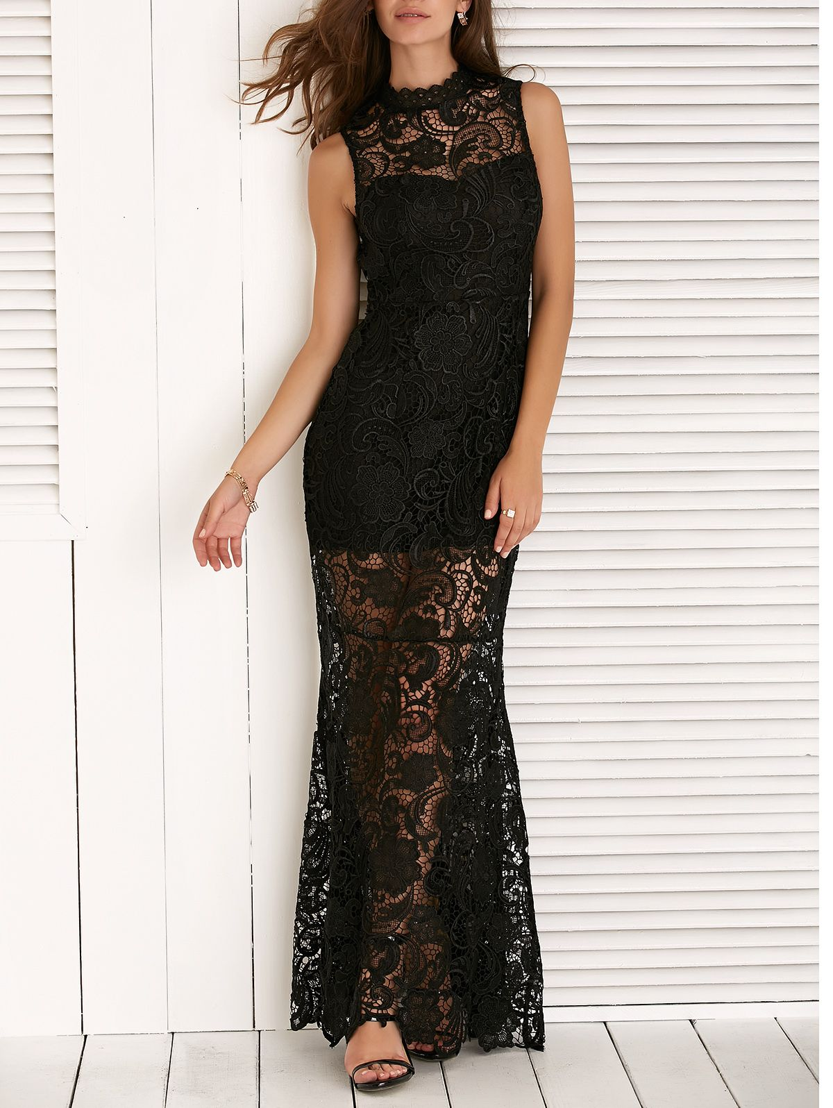 Sleeveless See Through Lace Splicing Maxi Dress Lace Dress With Sleeves Fashion Dresses