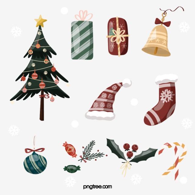 최소한의 만화 스타일 크리스마스 요소 스티커 Christmas Tree 크리스마스 캡 양말무료 다운로드를위한 Png 및 Psd 파일 크리스마스 스티커 크리스마스 장식